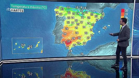 Temperaturas máximas en descenso en Galicia, Cantábrico, noreste de la Meseta e interior de Andalucía, y sin cambios o en ligero descenso en el resto de la Península