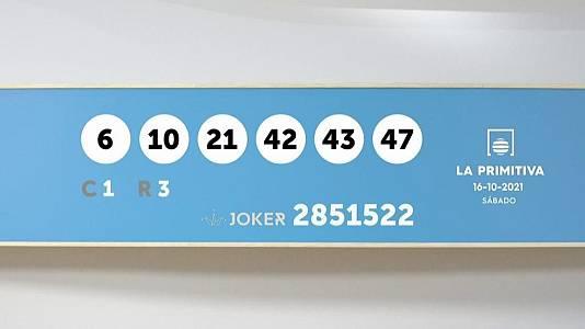 Sorteo de la Lotería Primitiva y Joker del 16/10/2021