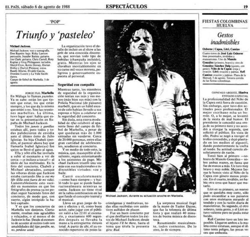 Crónica del diario 'El País' dedicada al concierto que Michael Jackson dio en Marbella en 1988