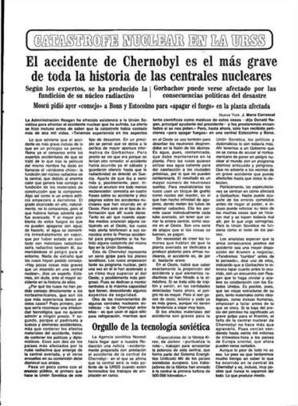 Periódico Abc en su edición del 29 de abril de 1986