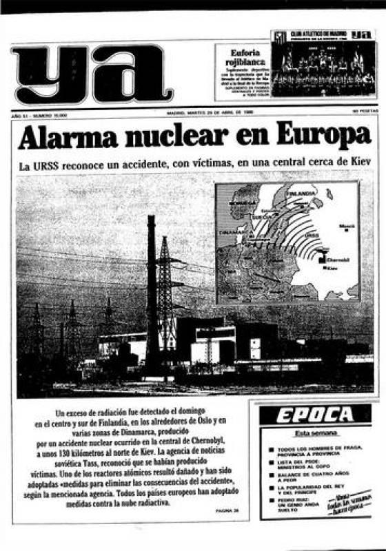 """El diario """"Ya"""", en su edición del 29 abril de 1986"""