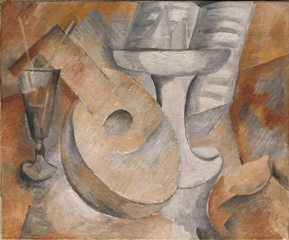 """Georges Braque, """"Mandolina y plato de frutas"""", (1909)"""