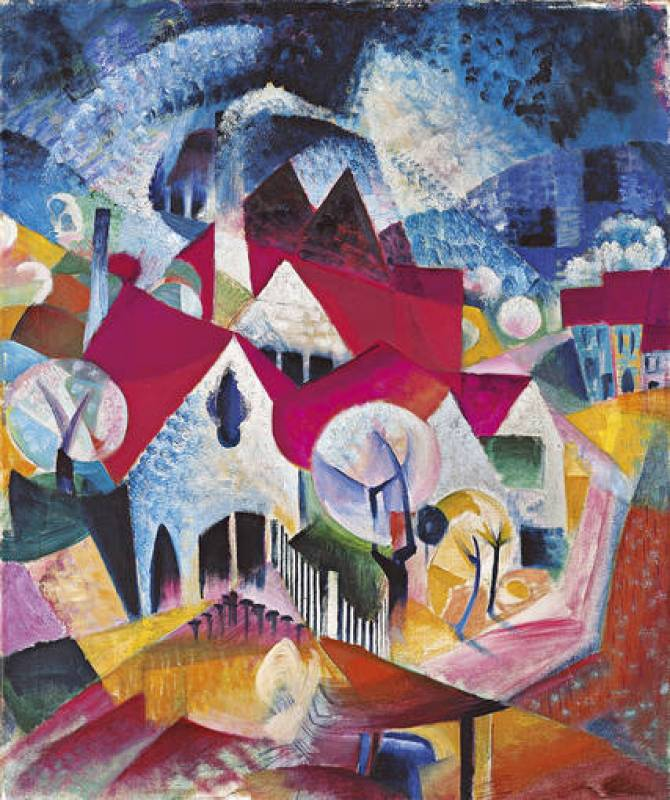 "Johannes Itten ""Grupo de casas en primavera"" (1916"