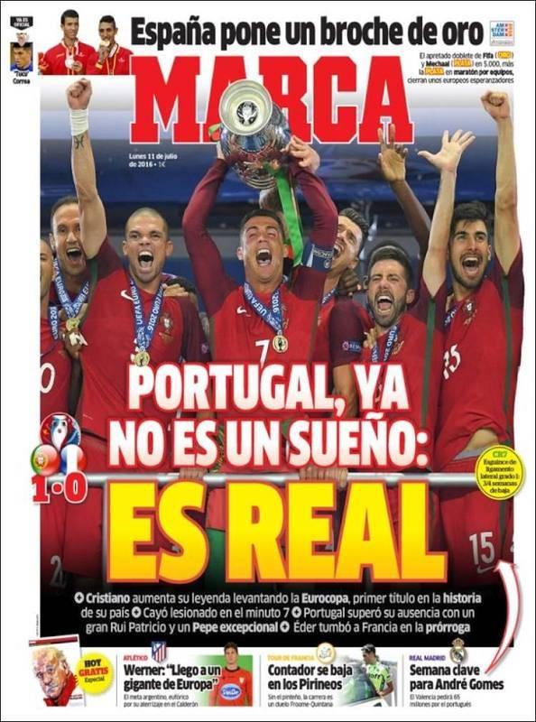 """""""Portugal ya no es un sueño, es real"""" es el titular de portada de Marca."""