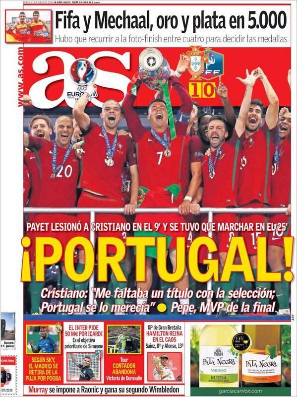 """El diario madrileño As titula un sencillo """"¡Portugal!""""."""