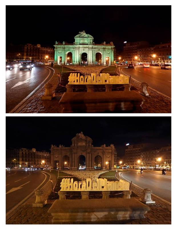 Vista de la Puerta de Alcalá de Madrid antes y después del apagón organizado con motivo de la Hora del Planeta