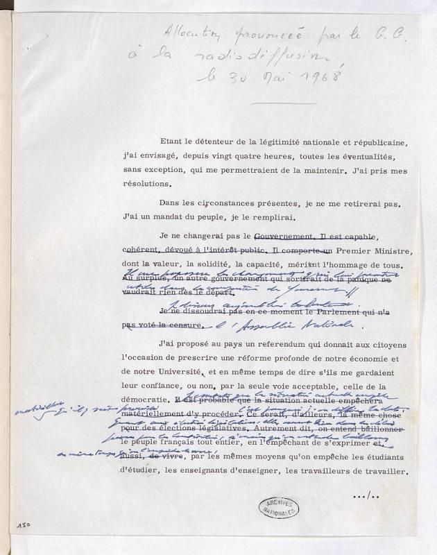 Discurso de Charles de Gaulle a la nación el 30 de mayo de 1968