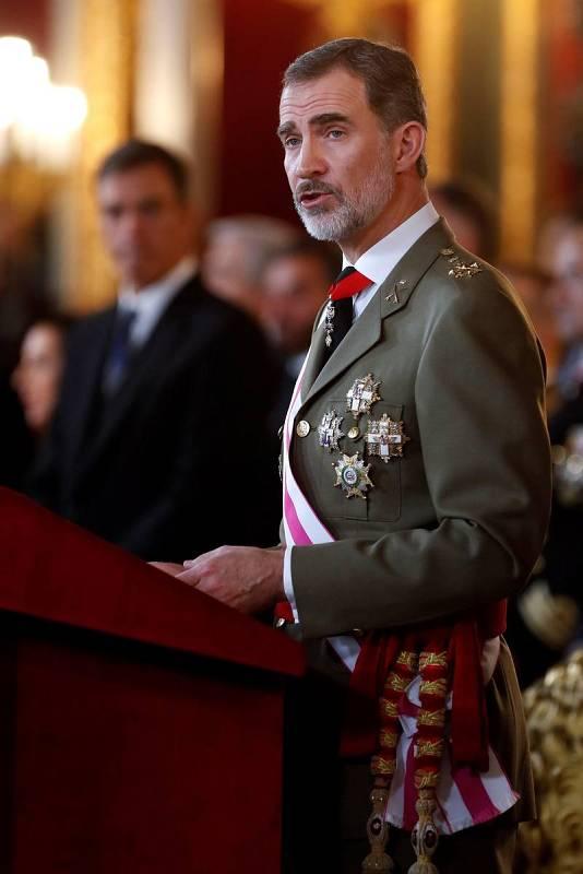 El rey durante el discurso que ha pronunciado con motivo de la celebración de la Pascua Militar en el Palacio Real