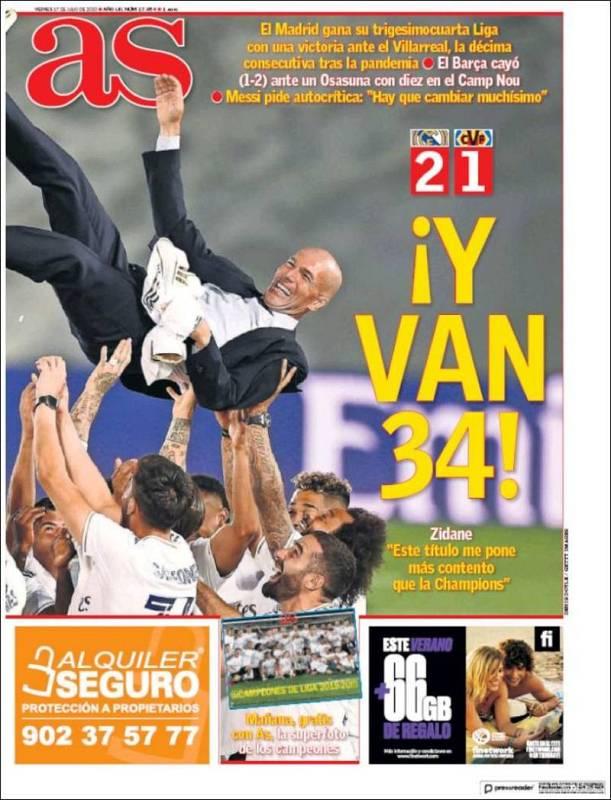 El rotativo deportivo destaca una imagen de Zinedine Zidane manteado por sus jugadores