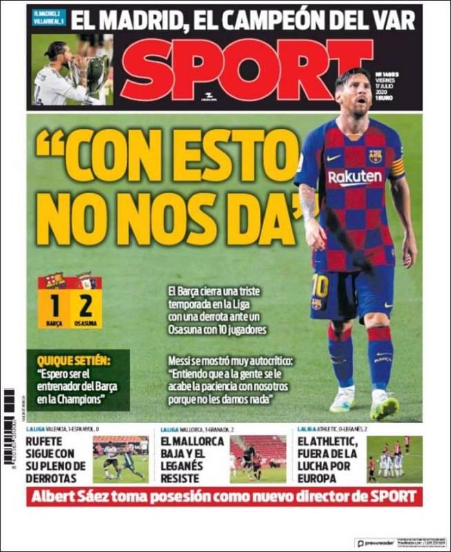 El diario catalán no se olvida de la polémica a la hora de informar sobre la conquista de la Liga número 34 para el Real Madrid.