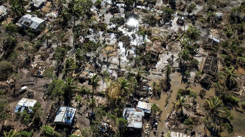 Vista área del distrito de Buzi tras al paso del ciclón Idai.