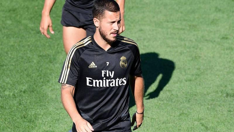 El belga Eden Hazard, en el entrenamiento del Madrid.