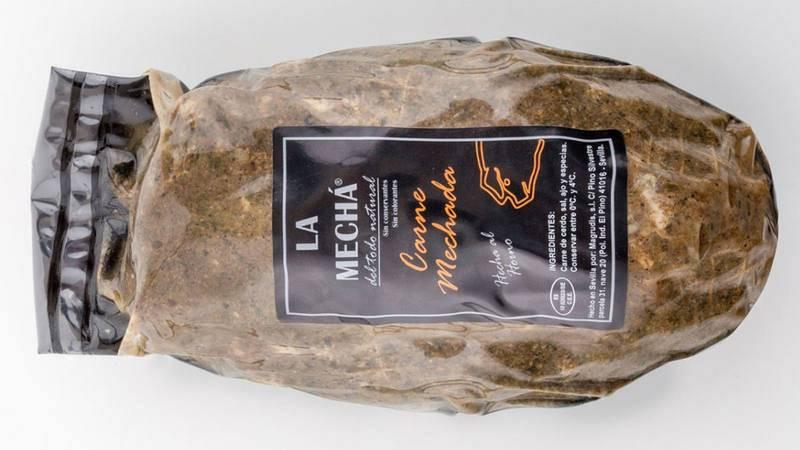 """Imagen de la carne mechada de la marca """"La Mechá"""", producida por la empresa Magrudis."""