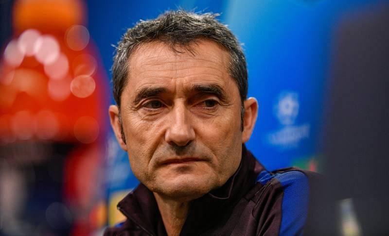 Imagen del entrenador del FC Barcelona, Ernesto Valverde, durante la rueda de prensa.
