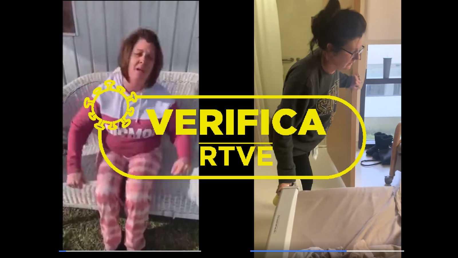 Capturas de dos vídeos que afirman que las vacunas causan temblores, donde se ven a dos mujeres afectadas por los temblores, con el sello de VerificaRTVE