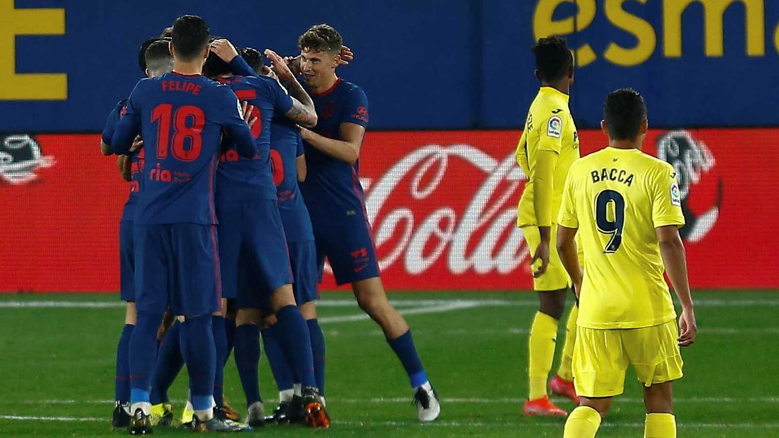 Los jugadores del Atlético de Madrid celebran el gol de Joao Félix