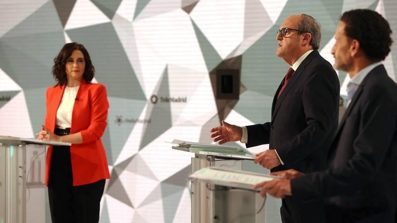 Los candidatos a la presidencia de la Comunidad de Madrid Isabel Díaz Ayuso, Ángel Gabilondo y Edmundo Bal.