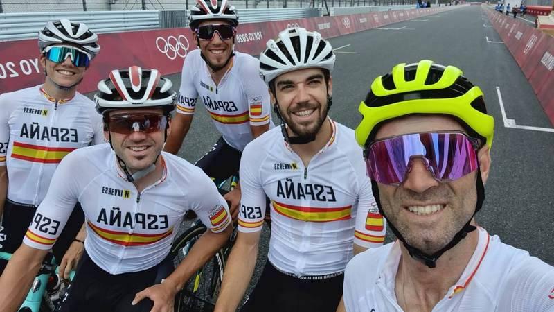 La selección española de ciclismo, este viernes en Tokio.