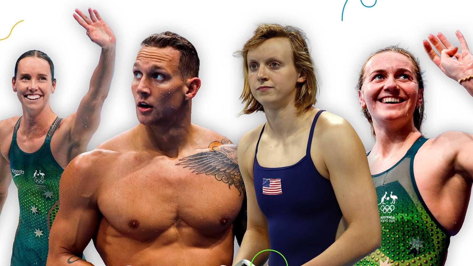 Las estrellas de la natación en Tokyo 2020: de izquierda a derecha, Emma McKeon, Caeleb Dressel, Katie Ledecky y Ariarne Titmus