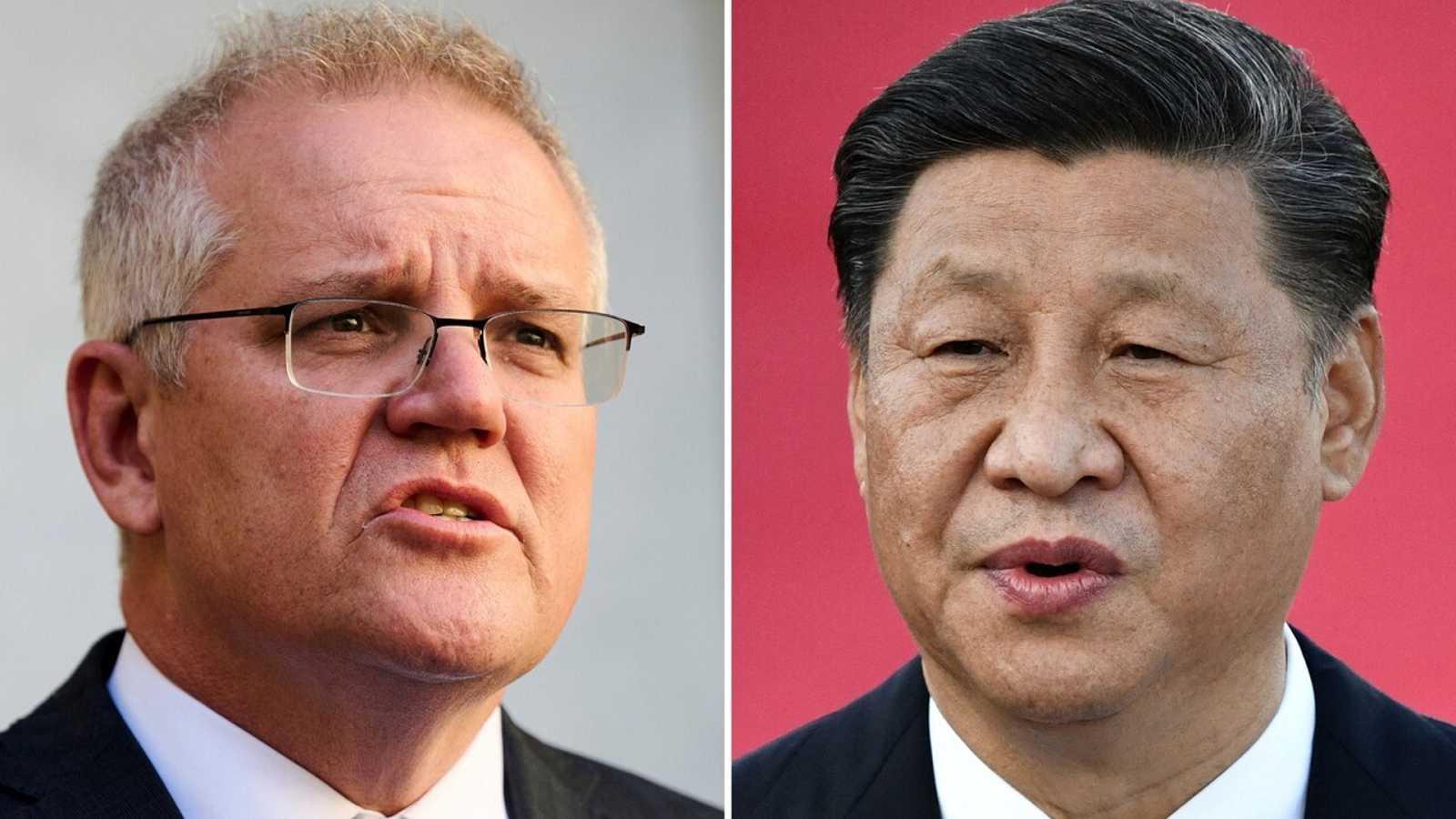 El primer ministro australiano, Scott Morrison (izquierda) y el presidente chino, Xi Jinping. Foto: Afp