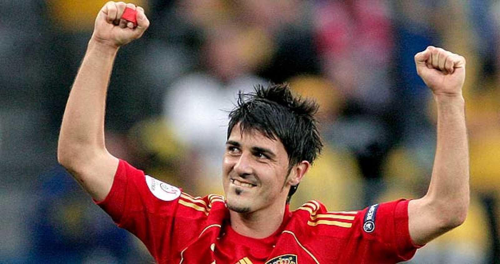Villa celebra el gol de la victoria marcado en el descuento.