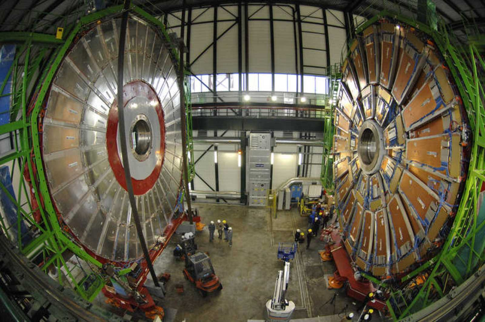 Overview of the first element of the huge magnet of the CMS experimental site at the CERN in Cessy near Geneva