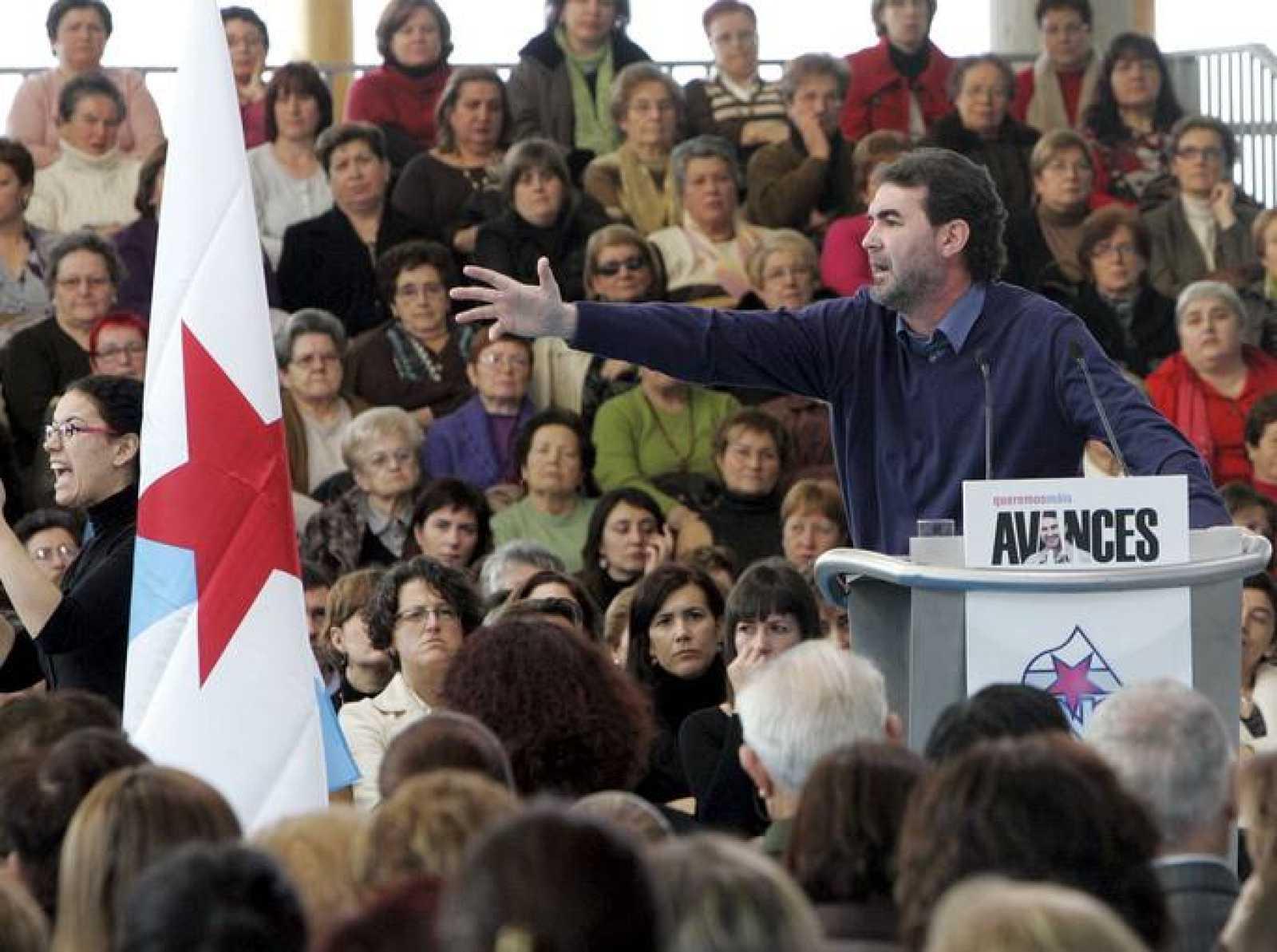 El candidato del BNG a la presidencia de la Xunta, Anxo Quintana, en un acto en Santiago de Compostela.