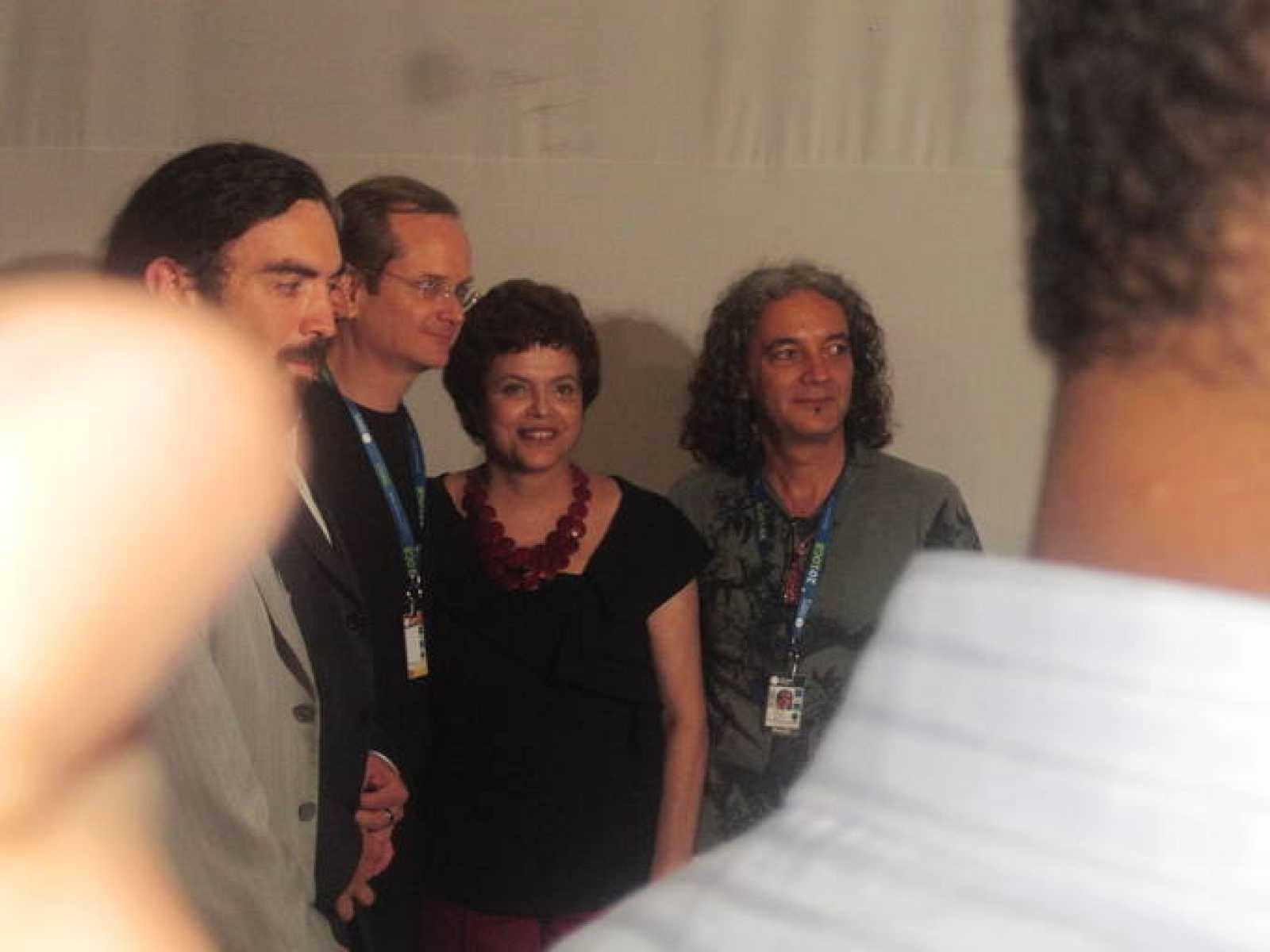 Dilma Rouseff, junto al ministro de Cultura y Larry Lessig.