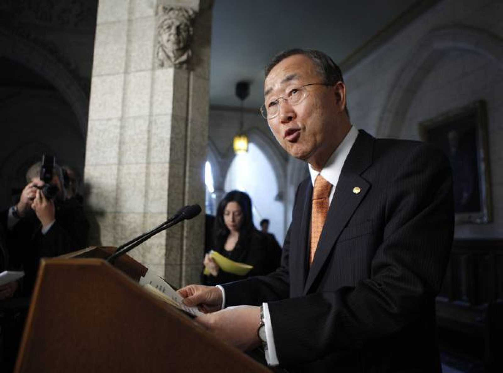 United Nations Secretary-General Ban Ki-moon speaks during a news conference on Parliament Hill in Ottawa