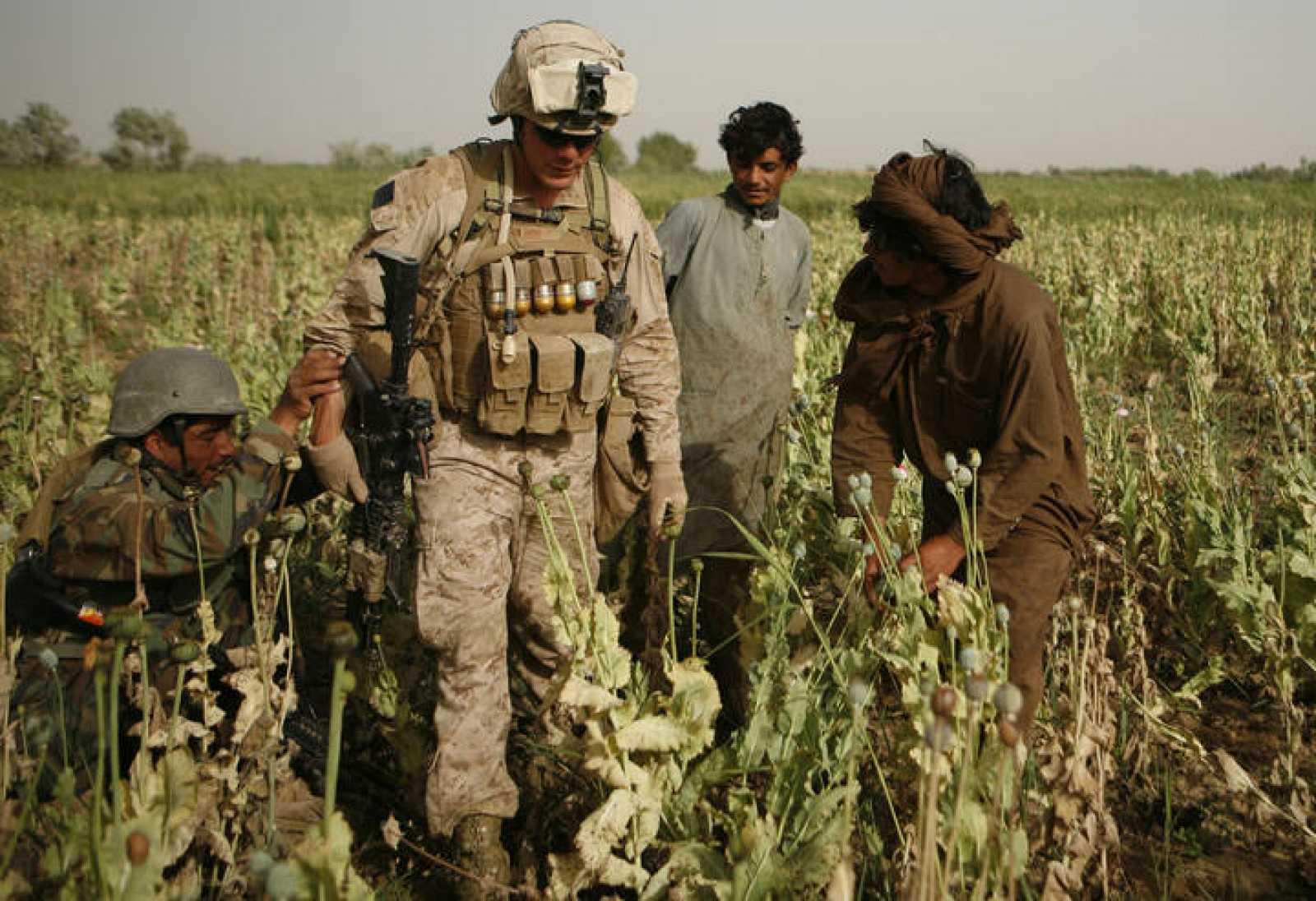 Granjeros afganos vigilan a un soldado estadounidense que atraviesa un campo de opio en Karez-e-Sayyidi.