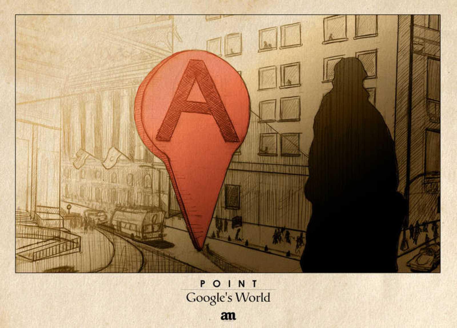 Un punto de señalización de Google desafía a un transeúnte
