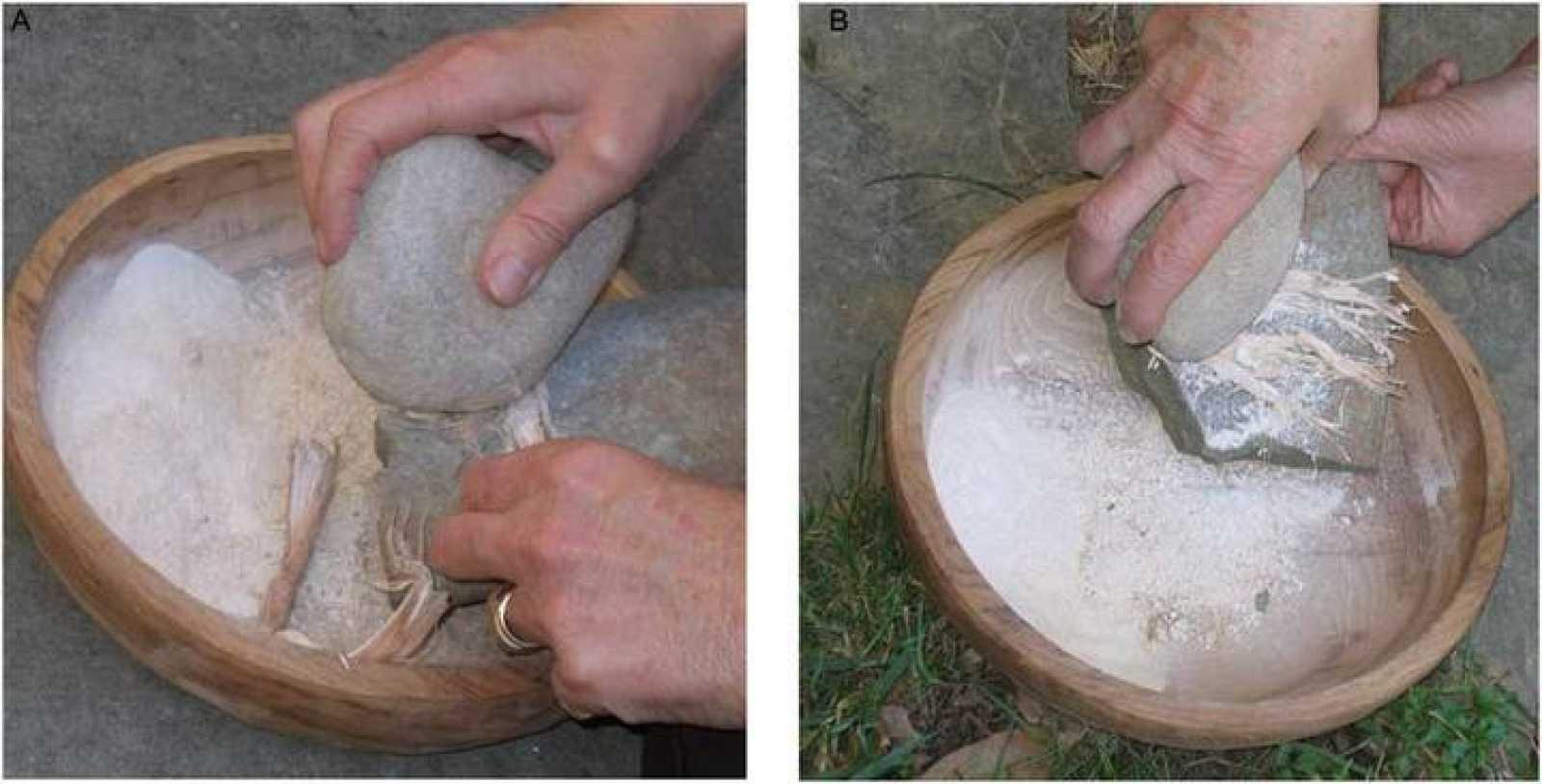 Reconstrucción de los trabajos con mortero hace 30.000 años.