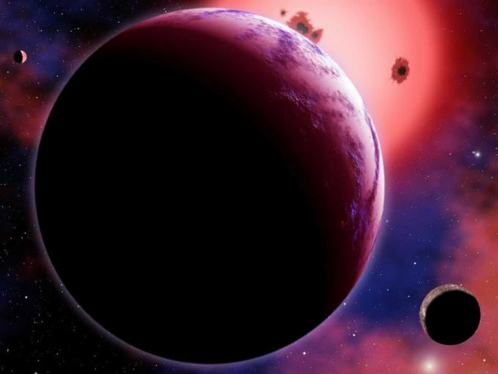 Representación artística del exoplaneta GJ 1214b