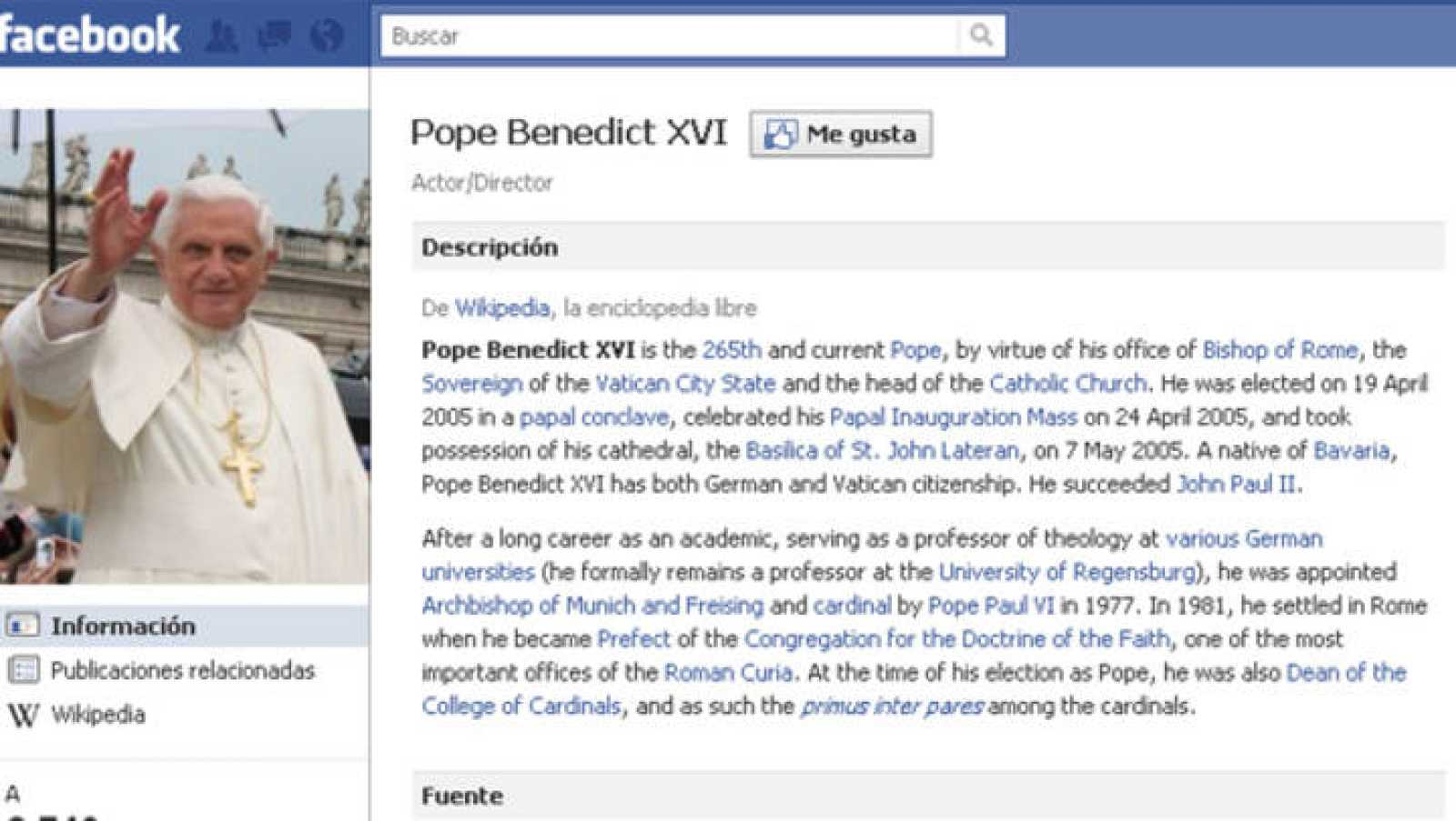 Imagen del perfil de Facebook del Papa.