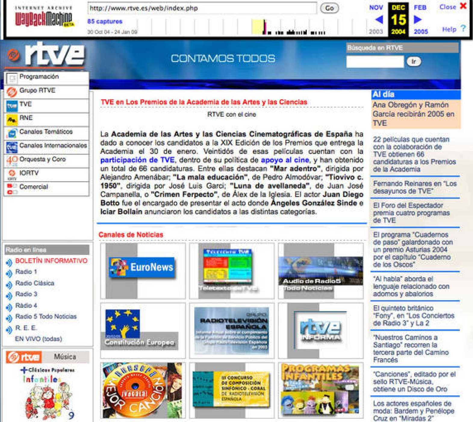 Una de las imágenes recopiladas en Wayback Machine de RTVE.es en 2004.