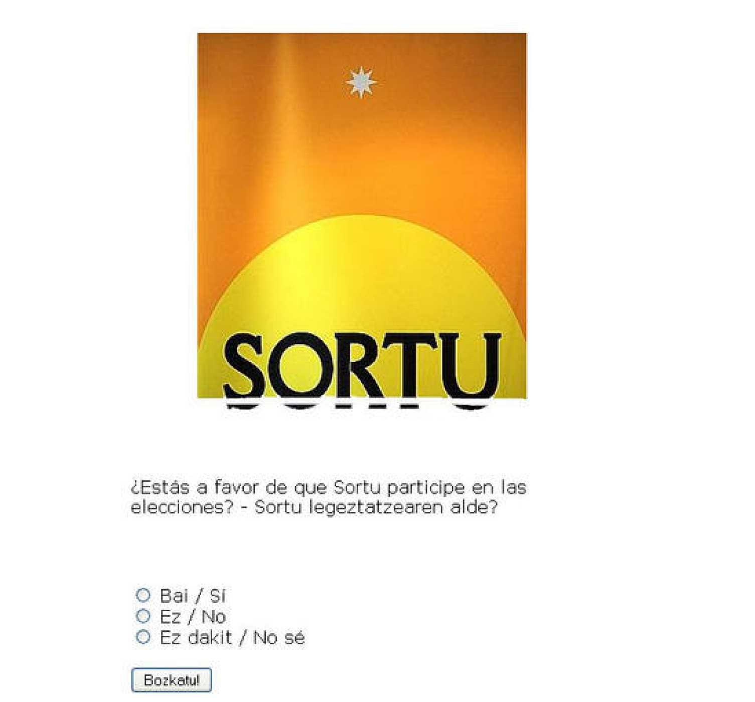 La básica web de Sortu: logo, encuesta y enlaces a noticias y vídeos de Gara