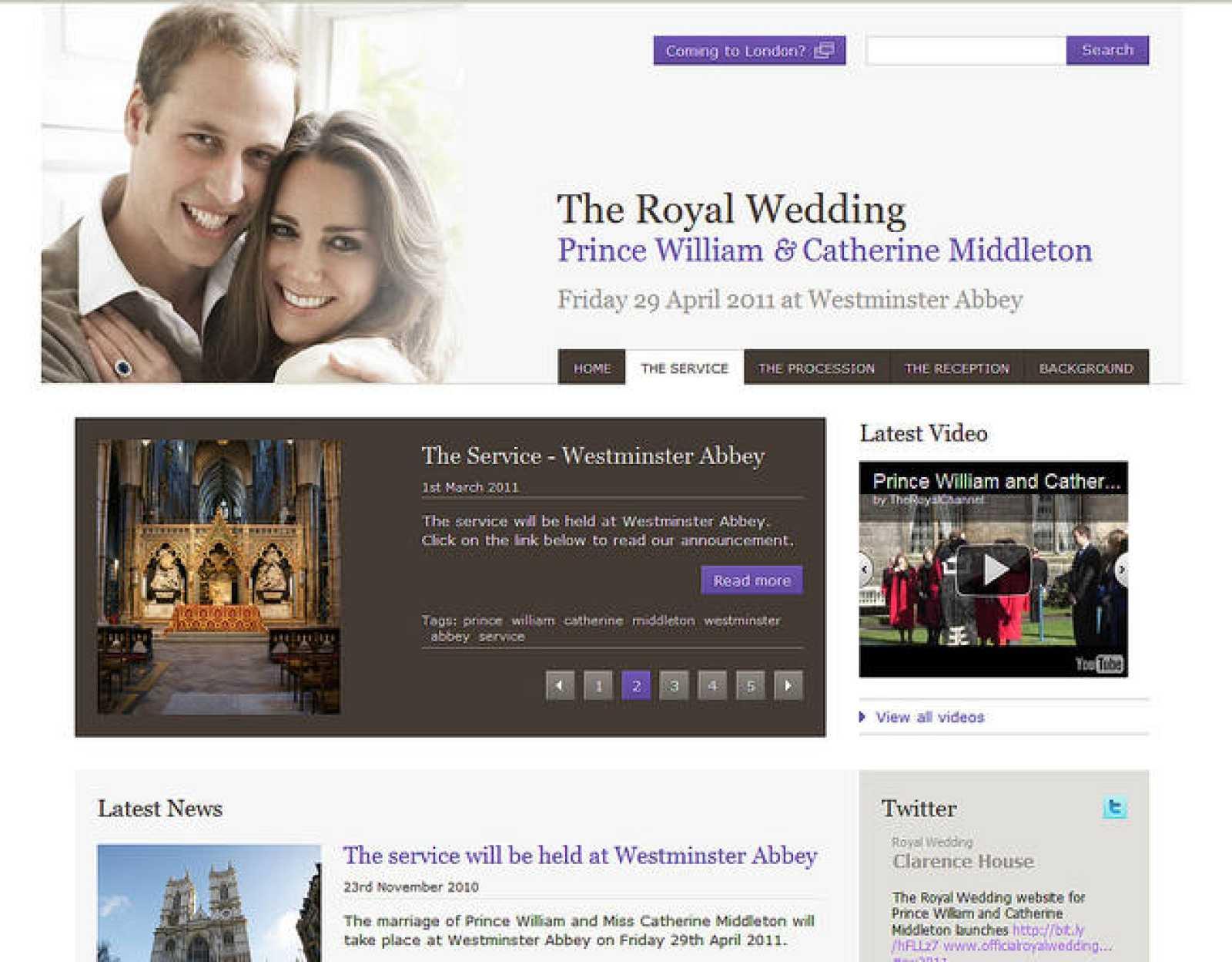 Web oficial de la boda del príncipe Guillermo y Kate Middleton