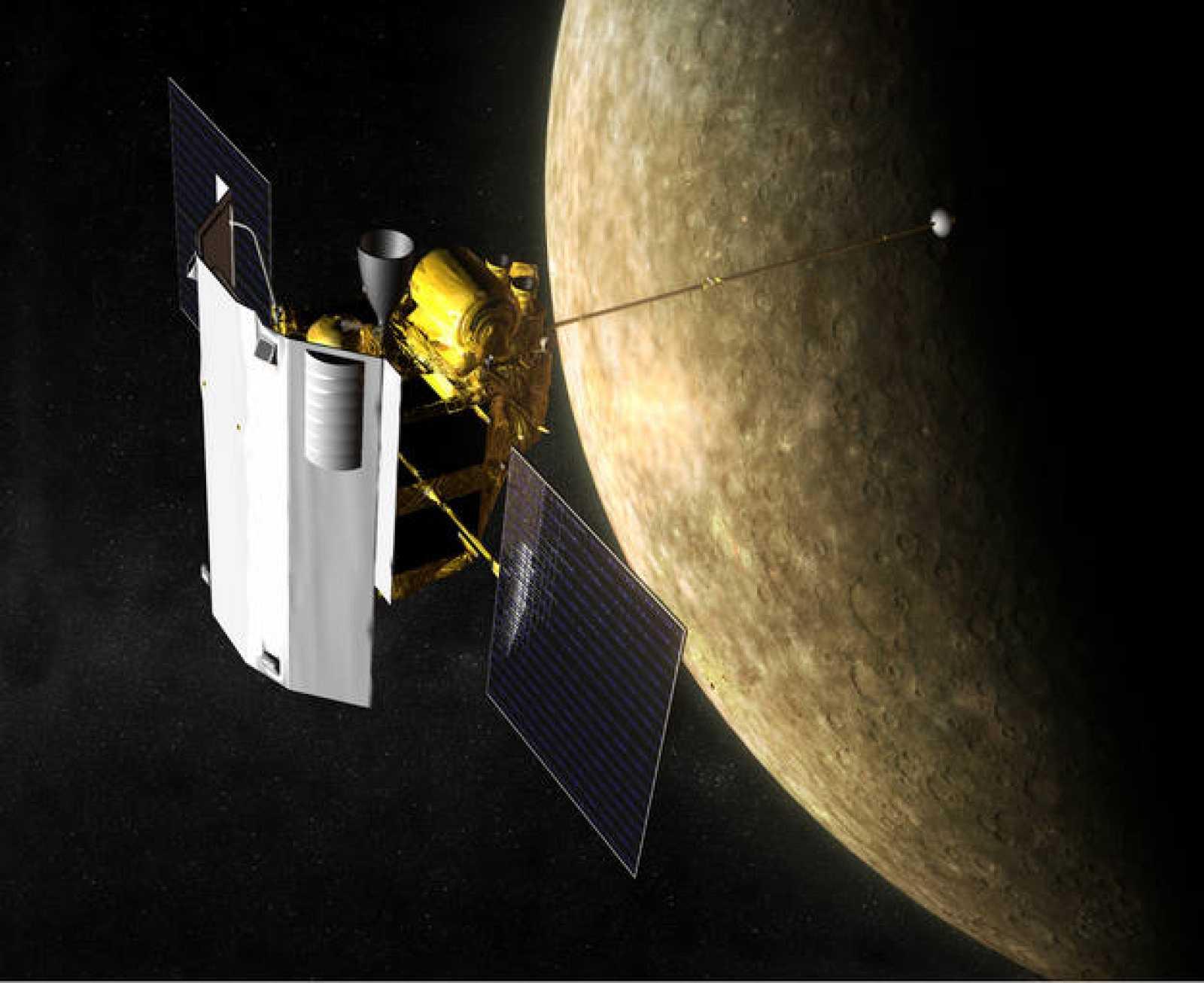 Recreación artística de la sonda Messenger en la órbita de Mercurio