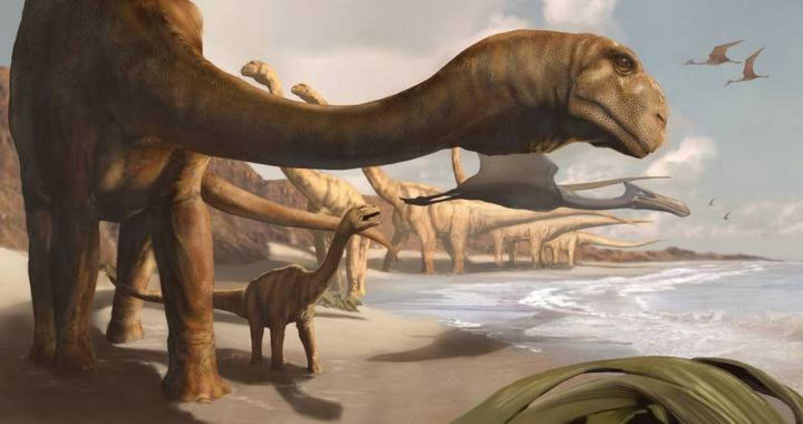 Recreación artística del gigante angoleño Adamastor, el último saurópodo primitivo