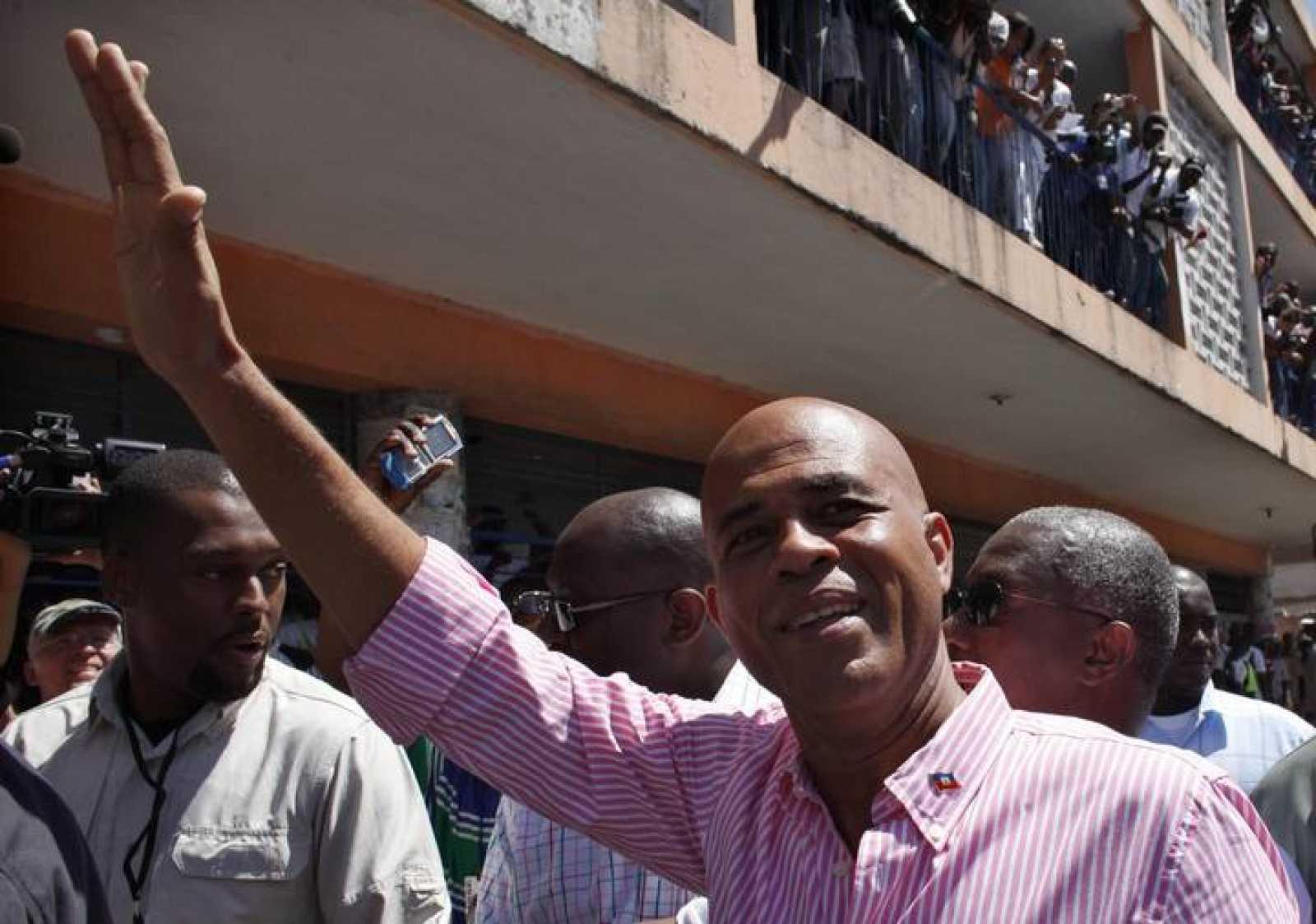 El cantante Michel Martelly durante la  campaña electoral