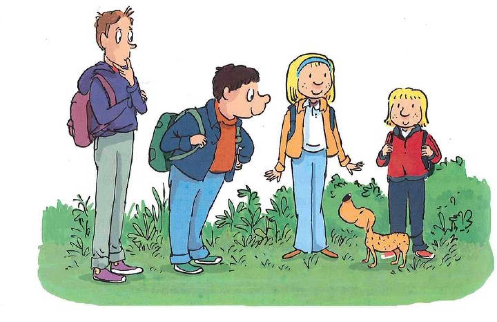 Los protagonistas: Estefi, Rabanito, Charly, Fede y su perro Precioso