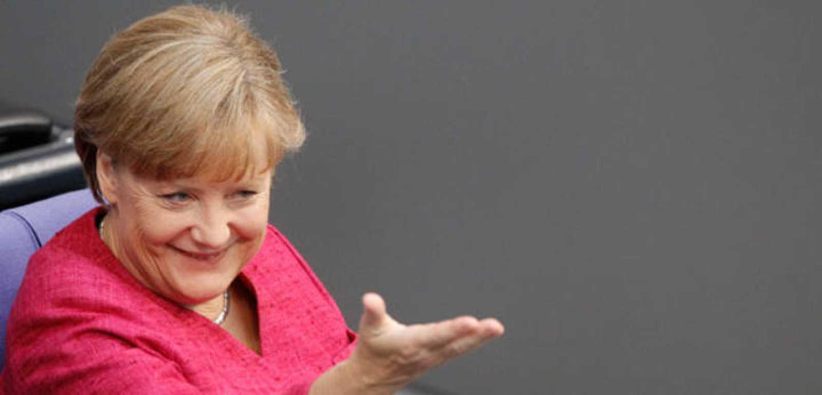 La canciller alemana Angela Merkel en una sesión del Parlamento, en Berlín