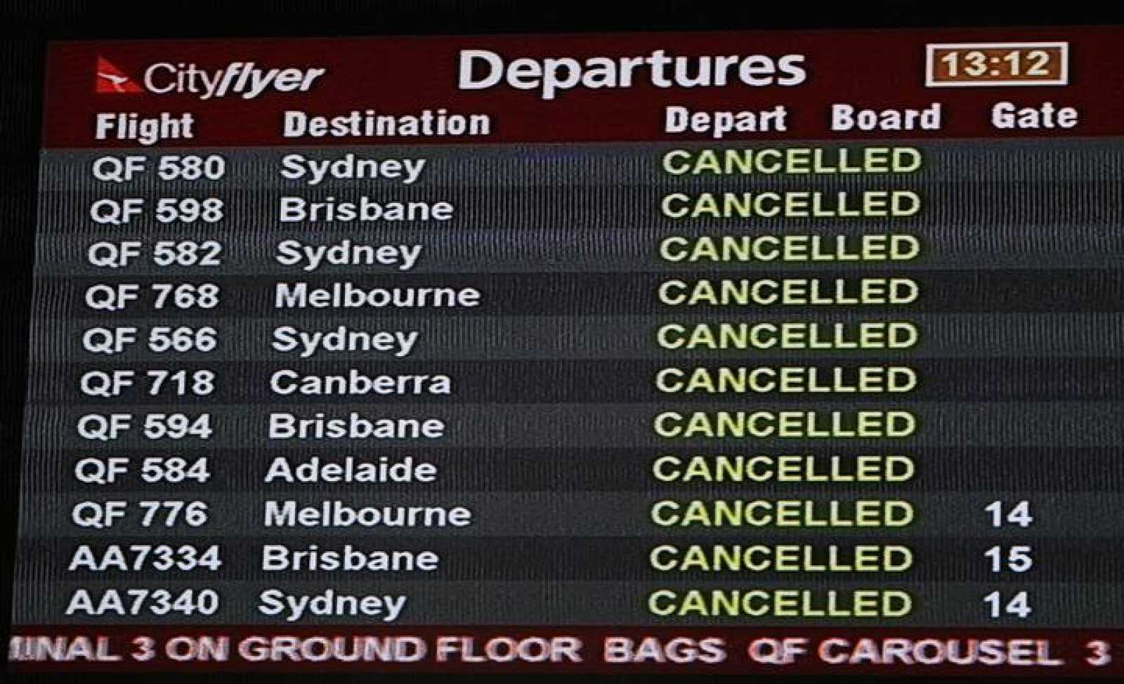 Pantalla del aeropuerto australiano