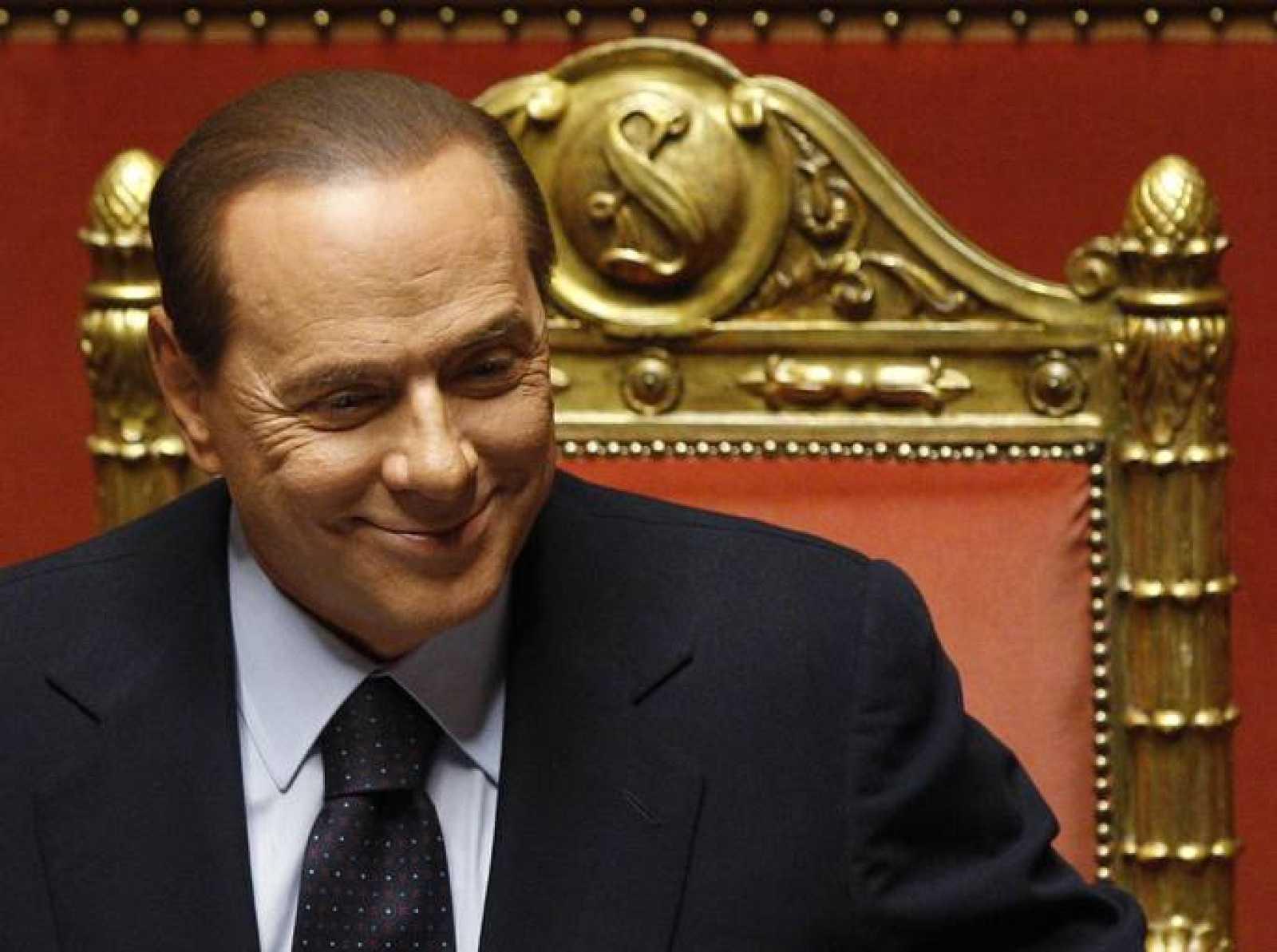 Silvio Berlusconi, durante su comparecencia de hoy en el Senado