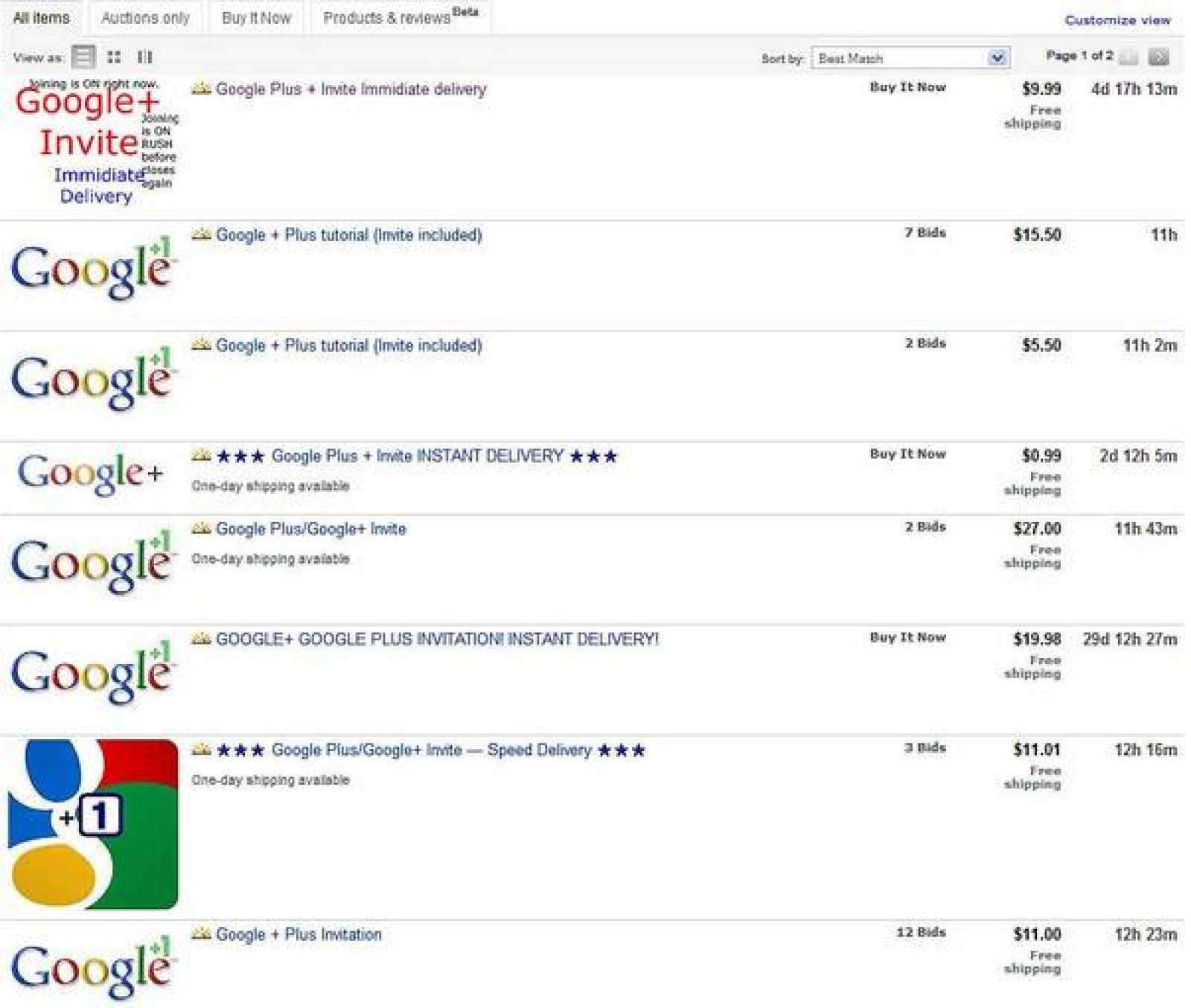 Algunos usuarios han aprovechado la demanda para vender sus invitaciones de Google+ en eBay