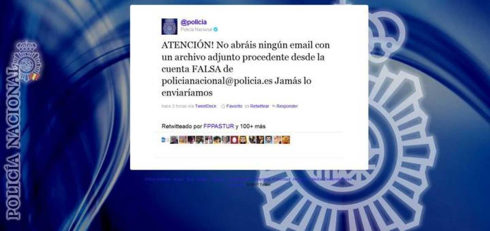La policía ha advertido de la existencia del virus a través de Twitter