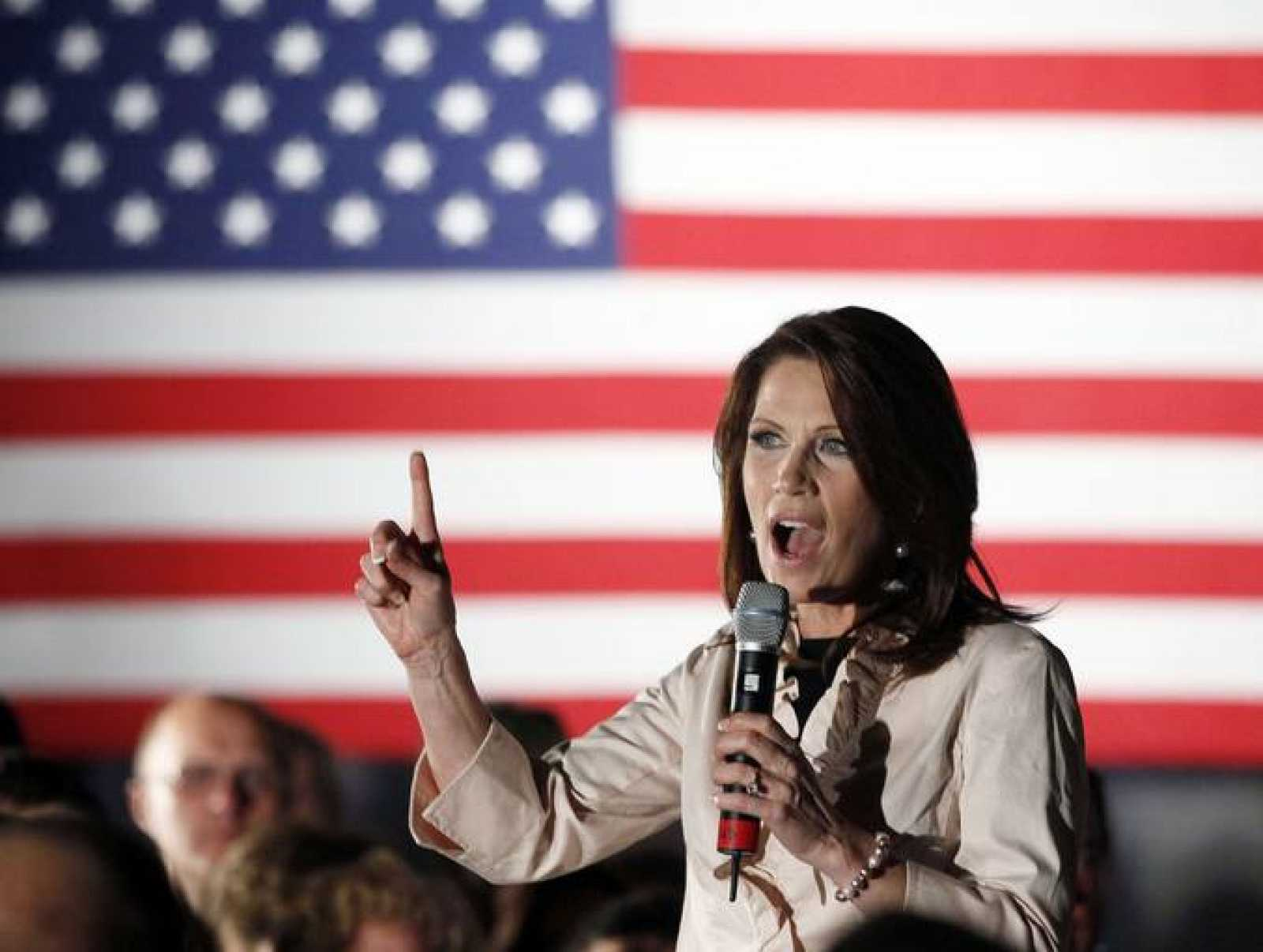 La congresista Bachmann, durante un mitin en Iowa.