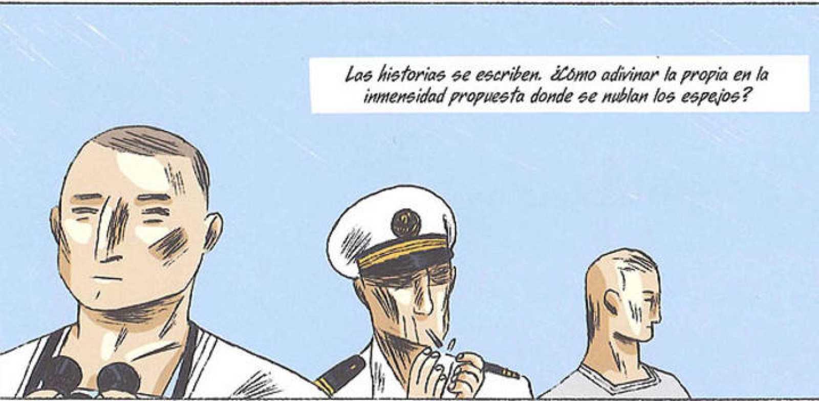 Viñeta de 'Los hombres en tierra', de Bernard Giraudeau y Christian Cailleaux