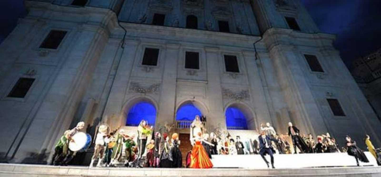 Ensayo de la obra 'Everyman' ('Jaederman') en Salzburgo