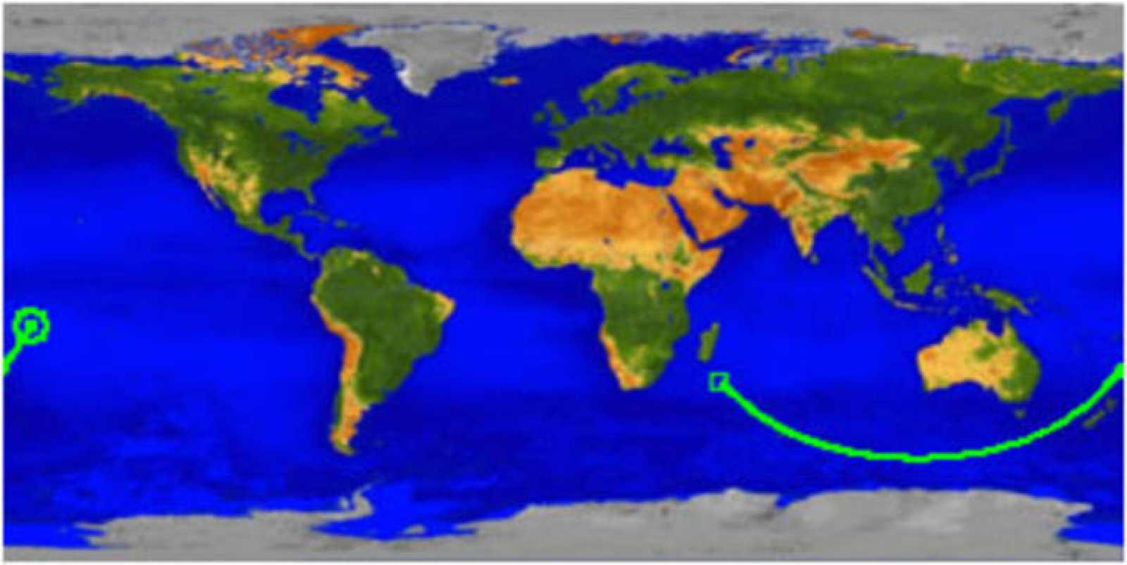 La NASA explica que el satélite entró en la atmósfera sobre el Pacífico Sur a 14,1 grados latitud sur y 170,2 grados longitud este.